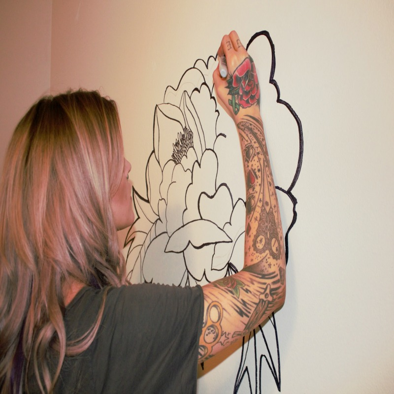 diy on a budget hand drawn floral wall mural. Black Bedroom Furniture Sets. Home Design Ideas